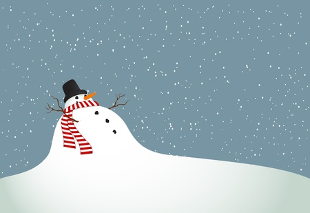 rural scene: Winter landscape with a snowman with a scarf
