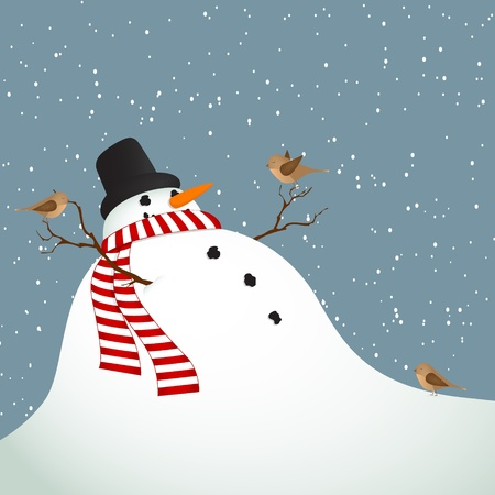 Winter landscape with a snowman covered with birds Vector