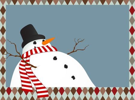 Winter landscape with a snowman with a scarf Vector