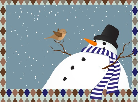 Winter landscape with a snowman with a bird Vector