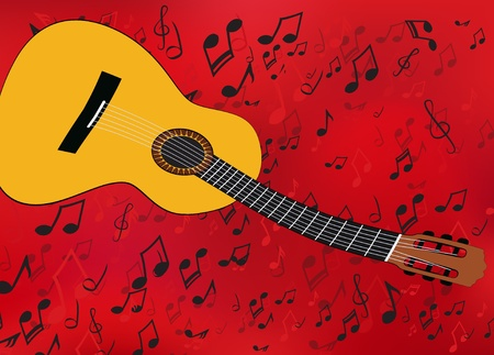 warped: Abstract music background with a guitar and singing mouths