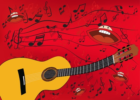 Abstract music background with a guitar and singing mouths