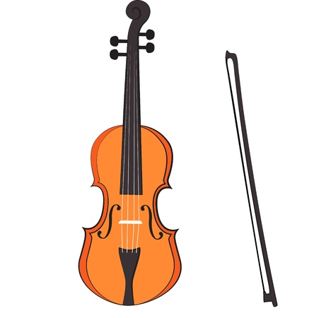 Vector violin drawn on a white background