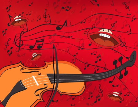 warped: Abstract music background with a violin and singing mouths