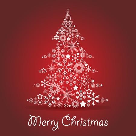 christmass: �rbol de navidad hecho de copos de nieve Vectores