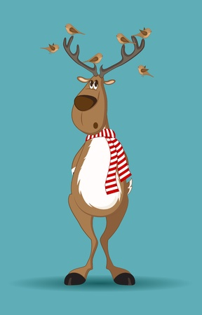 rudolf: Reindeer with red scarf and birds sitting on its antlers
