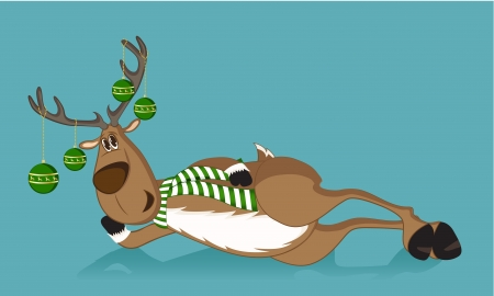 Lying reindeer with green christmas balls on its antlers and green scarf Vector