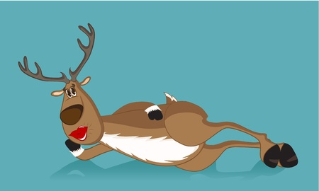 Lying reindeer blowing a kiss Stock Vector - 11337288