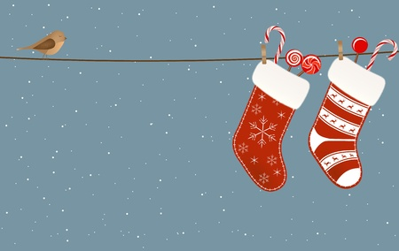 Christmas socks full of candies hanged on a clothesline  Vector