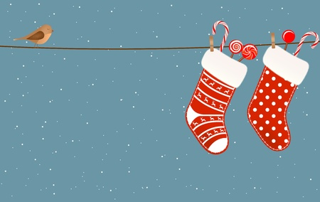 Christmas socks full of candies hanged on a clothesline