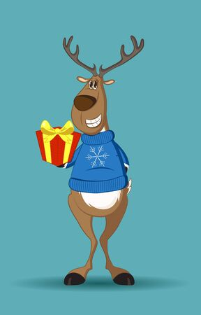 Reindeer in a blue jumper with a snowflake holding a gift