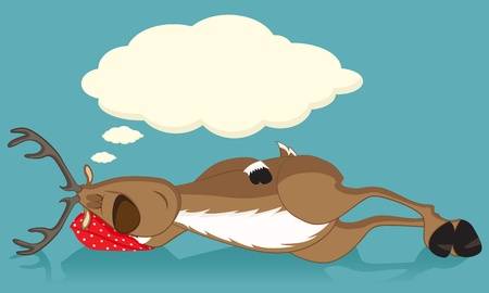 Sleeping reindeer lying on a red pillow, dreaming Vector