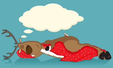Sleeping reindeer covered with red blanket Vector