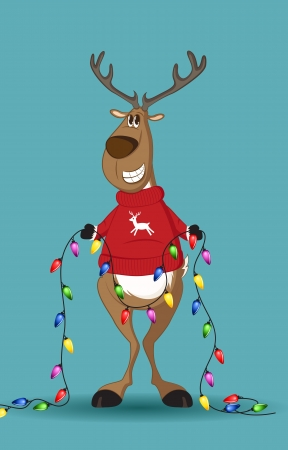 Reindeer in red jumper holding a line of light-bulbs, smiling Ilustracja