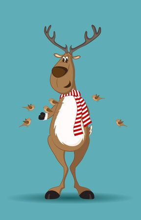 Reindeer with red scarf and birds feeding from its hand Vector