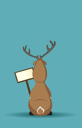 huge antlers: Reindeer sitting turned back with a sign in its hand Illustration