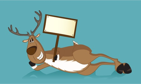 huge antlers: Happy reindeer lying on a side, holding a wooden sign