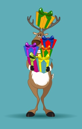 Reindeer holding a lot of gifts in its hand