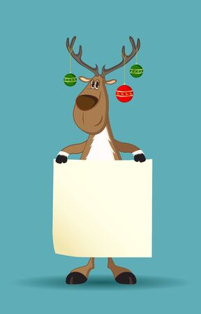 Reindeer with christmas balls on its antlers holding a blank paper Ilustracja