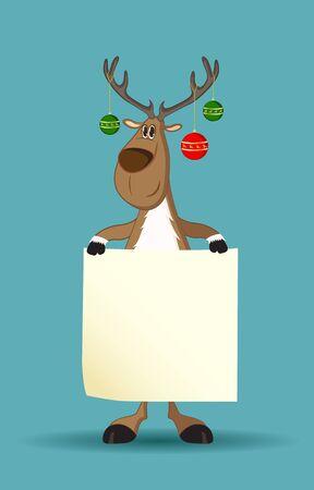 reno: Reno con bolas de Navidad en sus astas sosteniendo un papel en blanco Vectores