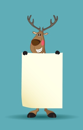 rudolph the red nose reindeer: Reindeer holding a long blank paper blushing Illustration