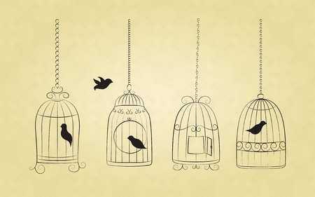 Collection of bird cages with birds drawn in retro style
