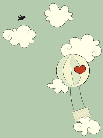 Balloon with a heart sewn on it, flying in the sky Иллюстрация