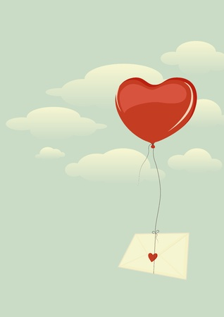 Envelope with heart flying high in the sky on a heart-shaped balloon Illustration