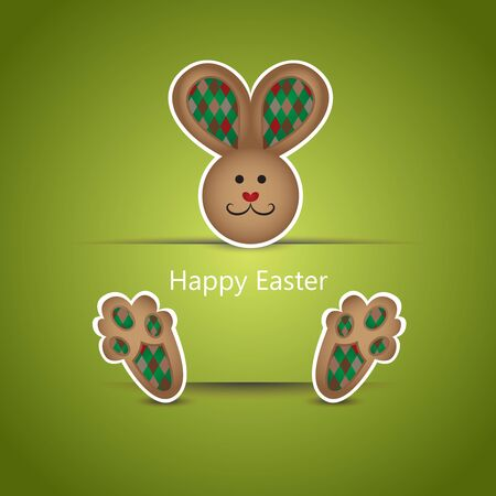 Cute brown easter bunny wishing card on green background Vector