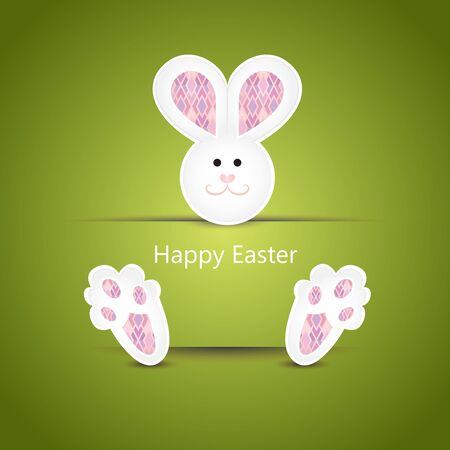 Cute white easter bunny wishing card on green background Vector