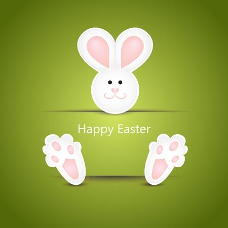 lapin cartoon: Blanc mignon carte de Pâques qui souhaitent lapin sur fond vert
