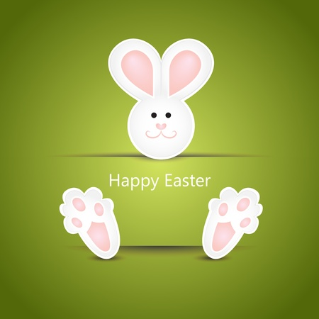 Cute white easter bunny wishing card on green background