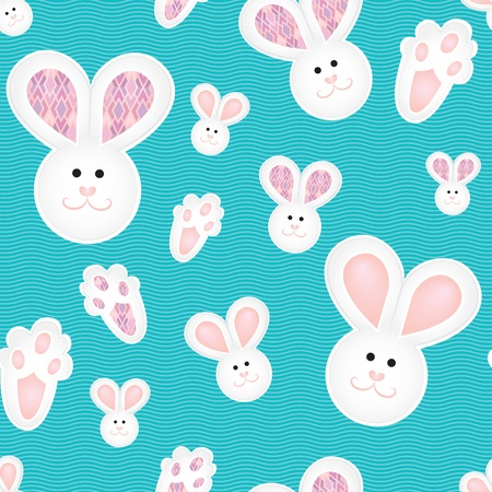 tapestry: Blue white pink children pattern with bunnies Illustration