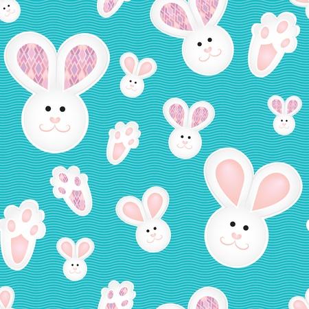 Blue white pink children pattern with bunnies Ilustracja