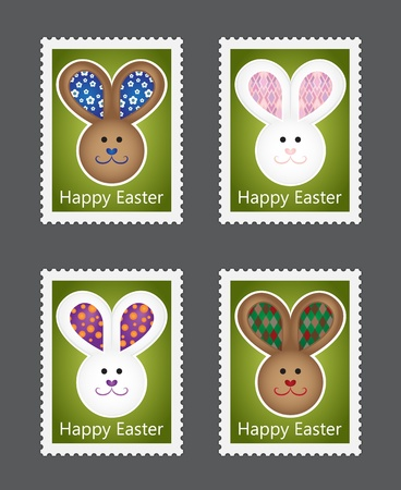 Set of Easter stamps with bunnies on green background Vector