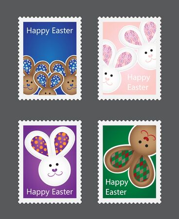 Set of Easter stamps with bunnies on colorful background Vector