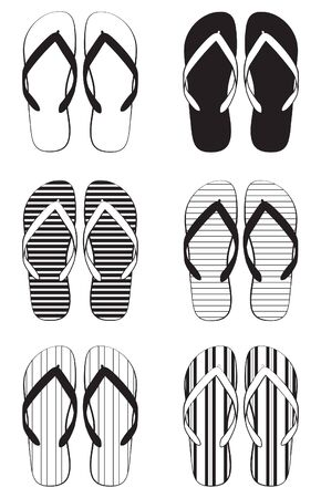 to flop: A collection of schematic flip flops Illustration