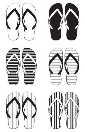 sandalias: Una colección de flip flop esquemática
