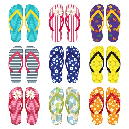 A colourful collection of flip flops Vector