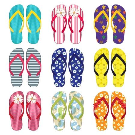Una colorida colección de sandalias Ilustración de vector