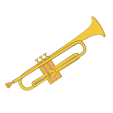 wind instrument: Golden trumpet isolated on a white background