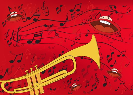 Abstract music background with a trumpet and singing mouths Vector