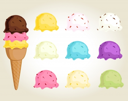 Collection of colorful ice cream balls that can be switched Vector