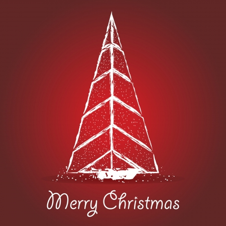 Abstract Christmas tree drawn on a red background Stock Vector - 13910579