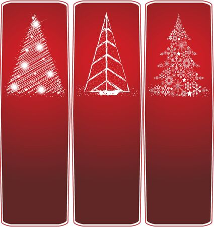 Collection of Christmas banners on a red background Stock Vector - 13910583