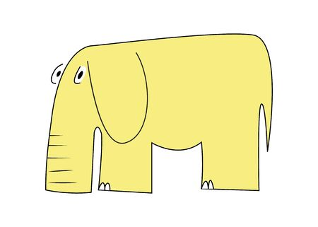 clipart wrinkles: Vector yellow elephant with long thick nose Illustration
