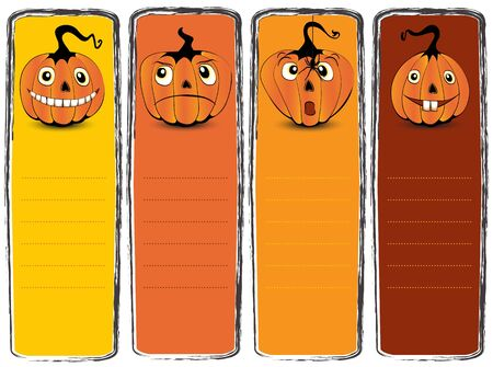 Collection of halloween banners with funny pumpkin faces on them Stock Vector - 13910582