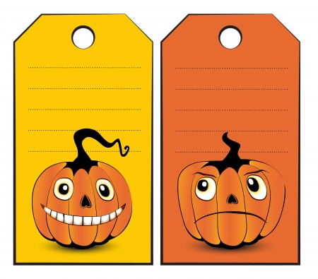 Collection of halloween banners with funny pumpkin faces on them Illustration