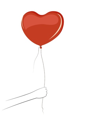 wad: Hand holding a red heart shaped balloon Illustration