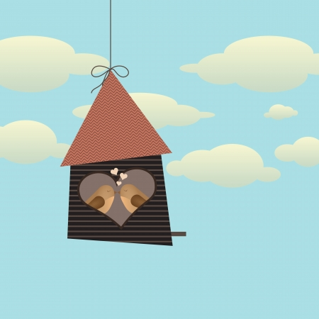 Birds in love sitting in wooden bird house with a heart shaped window Vector